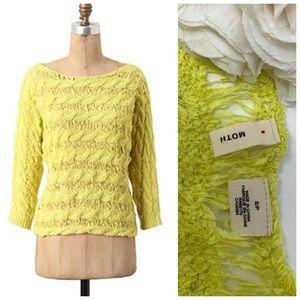 Anthropologie | Moth Yarn Yellow Pullover